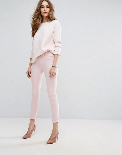 Warehouse Cropped Pastel Pink Skinny Jeans and sweater asos