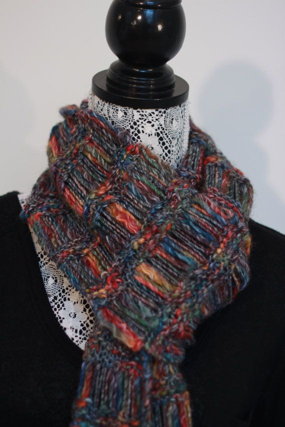Multicolour chunky wool scarf // Very long and by SoppyKnitsStuff