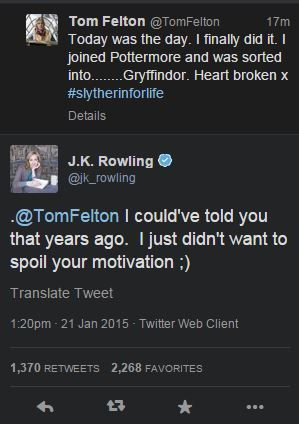 https://twitter.com/jk_rowling/status/557935694161907712<--- I totally accept being a Gryffindor now