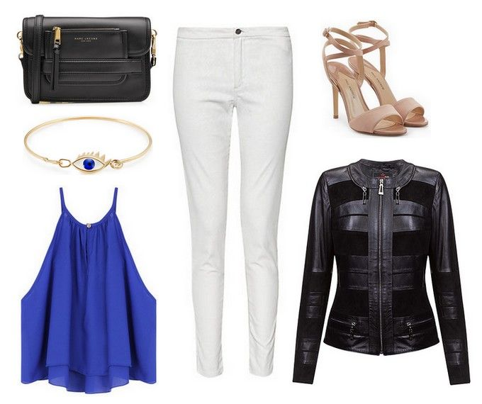 White pants, black handbag, blue top, gold bracelet, black leather jacket - Monica - Verssen, beige high heels