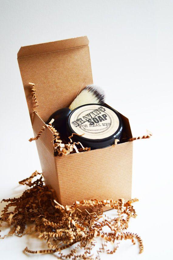 Mens shaving gift set, 4oz shaving soap and faux badger shaving brush. Beautifully gift wrapped. Handmade shaving soap creates a rich lather with a