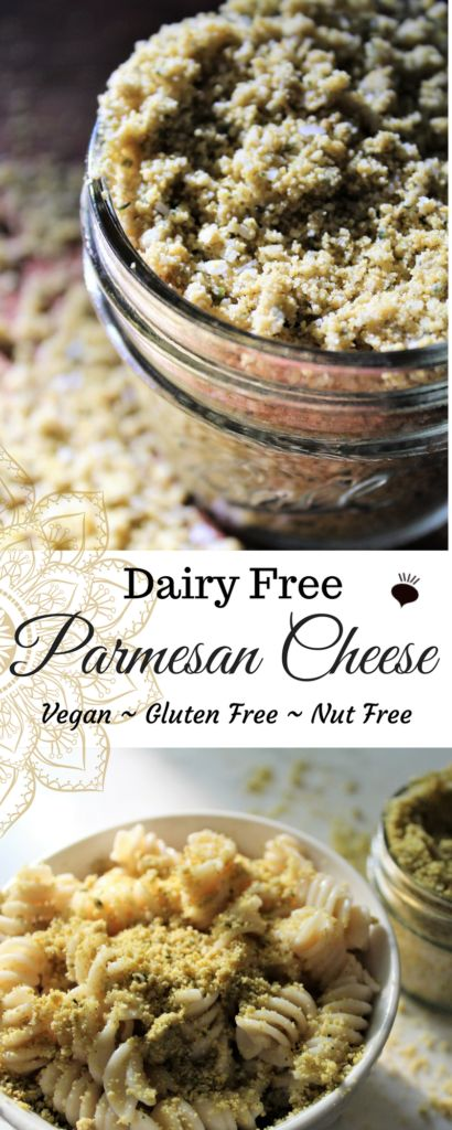This nut free dairy free parmesan cheese goes well sprinkled over just about anything! Free of all major allergens. Kids will happily gobble this down! thehiddenveggies.com