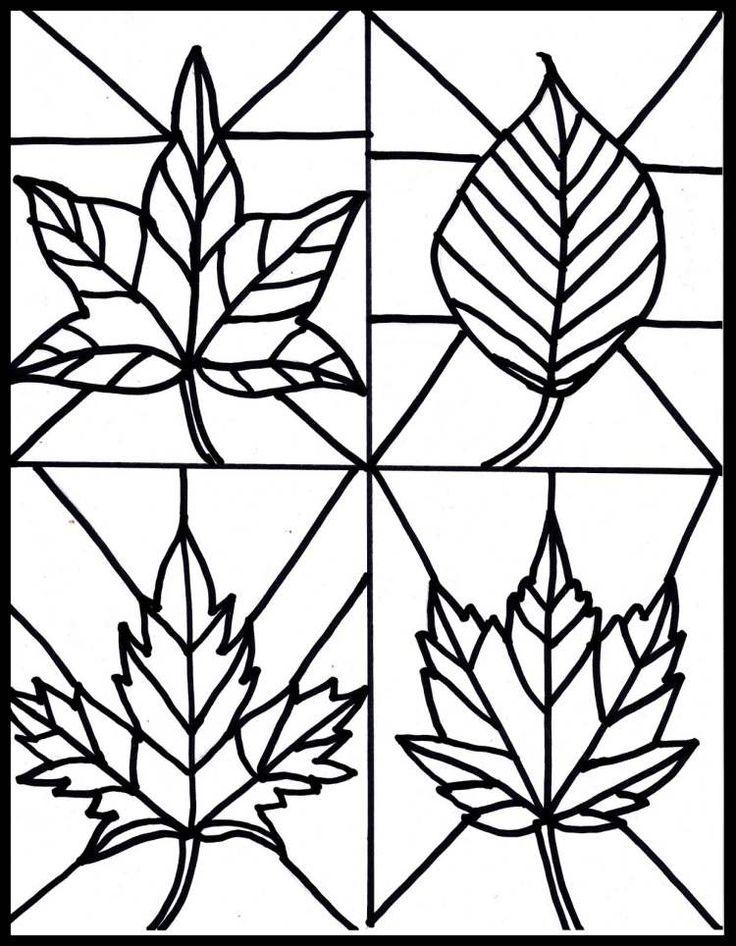 Vorlage zum Ausdrucken und Ausmalen - Herbstblätter für Glasmalerei