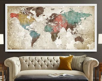World map print travel map map poster colorful by iPrintPoster