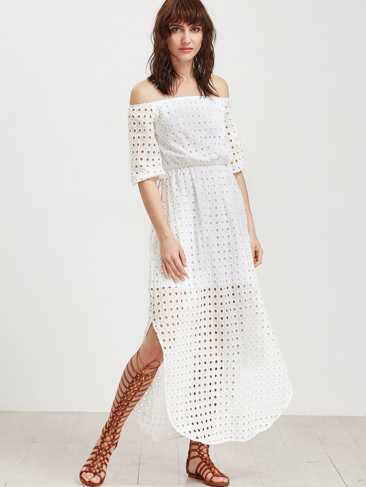White Eyelet Embroidered Off Should 3/4 Sleeve Maxi Dress