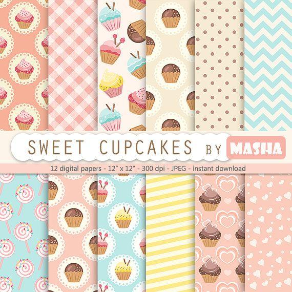 Cupcake digital pattern: CUPCAKE DIGITAL pattern by MashaStudio #digital #cupcakes #patterns #papers #craft #scrapbooking #invitations #sweet #cookies #cakes