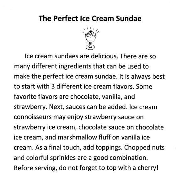 I'm writing a descriptive essay on an ice cream sundae?