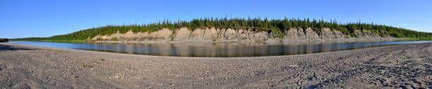 panoramic landscape polar river in the urals