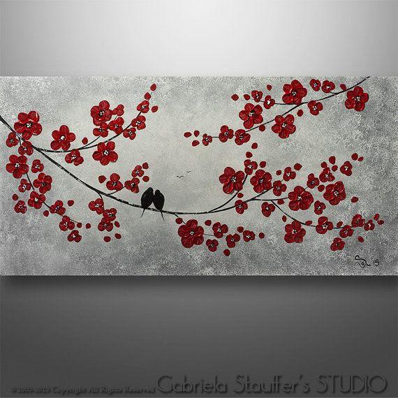 Abstraktní Birds, Birds malba, Pták na drátě, abstraktní umění, Tree Painting, Wall Art Wall Decor, abstraktní malby, Černá Bílá Červená