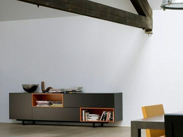Kommode Regale schwarz orange Holz Möbel