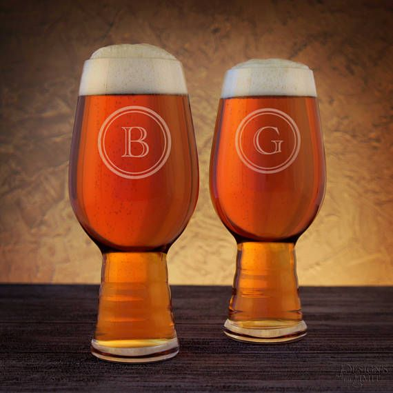 Personalized Craft Beer Gift Set of IPA Stout & Wheat Beer Glasses Engraved with Monogram Design Options with Font Selection (Set of 3) by DesignstheLimit #TrendingEtsy