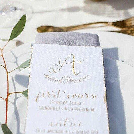 Gold calligraphy wedding stationery | Minimalist gold calligraphy wedding menu