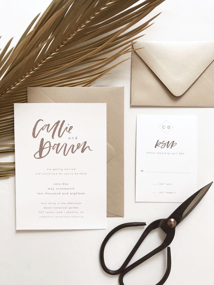simple modern calligraphy wedding invitation minimalist