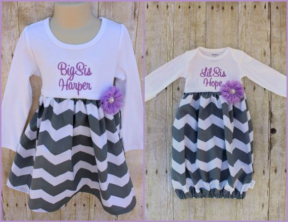 Big Sister Little Sister Outfit - Girls Chevron Dress - Newborn Gown - Grey - Pink - Going Home Outfit - Baby Shower Gift - The Pink Rose Boutique