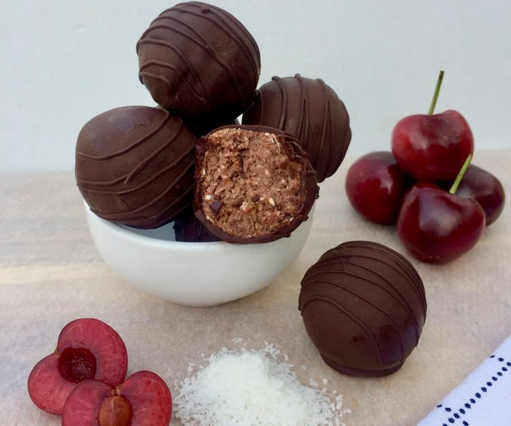 Make the most of the in-season and affordable cherries to make these decadent 85 Calorie Black Forest Bliss Balls for a health ysnack.