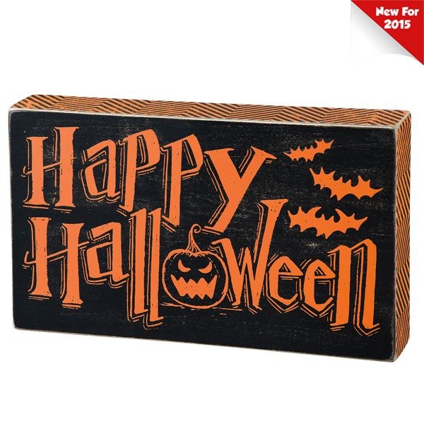 primitives by kathy 10 happy halloween chalk box sign 25073 - Primitives By Kathy Halloween