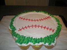baseball pull apart cake | BASEBALL CUPCAKE CAKE