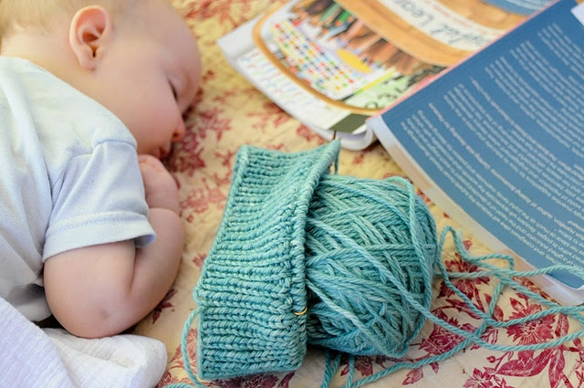A sleeping baby, knitting and a good book? Yes please.