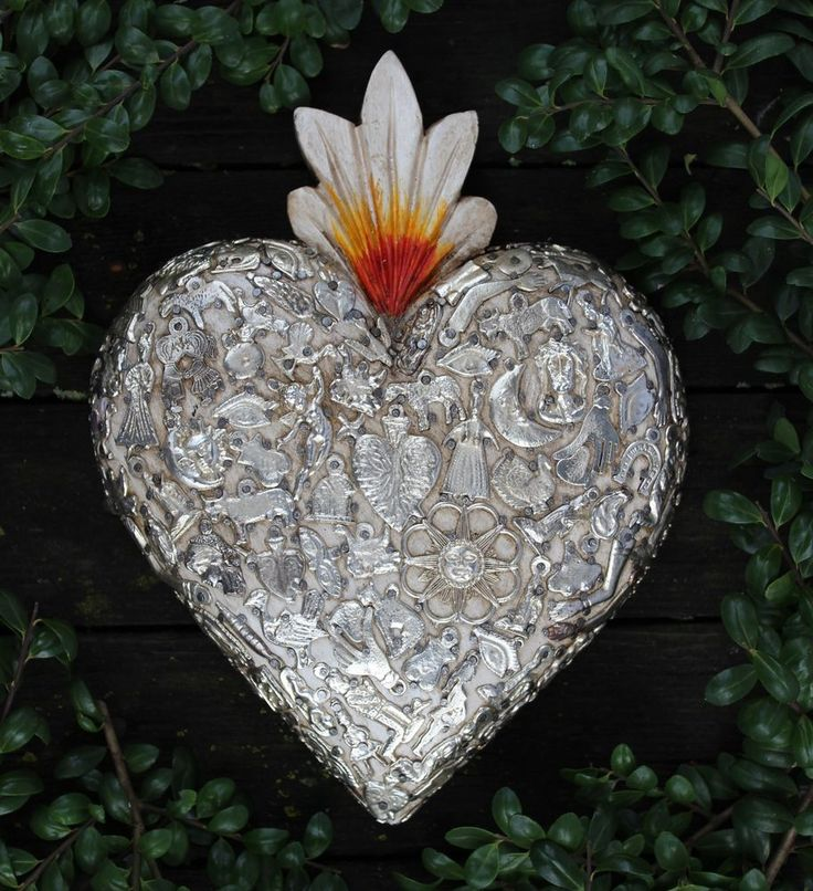 Pure of Heart Carved Wood & Milagros Miracle Ex Voto Folk Art Michoacán Mexico