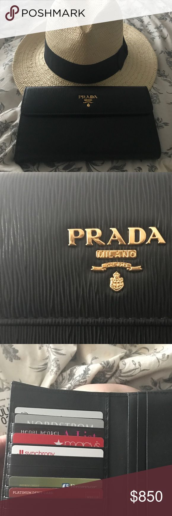 Prada wallet NWOT. Added the cards to show how many it can hold!!! Black leather! Comes with authenticity card and box! AUTHENTIC!!!! Price is FIRM!!!!! Thank you for looking!!! Prada Bags Wallets
