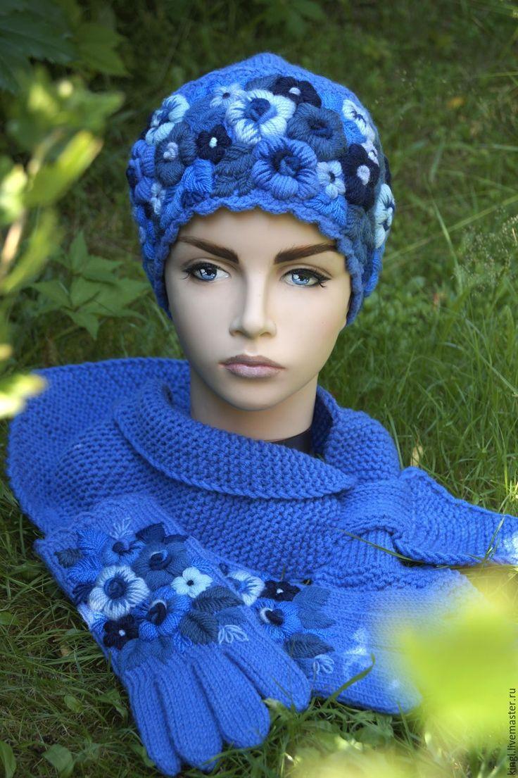 Купить Комплект аксессуаров с ручной вышивкой Васильковая поляна - синий, цветочный, васильковый, шапочка вязаная