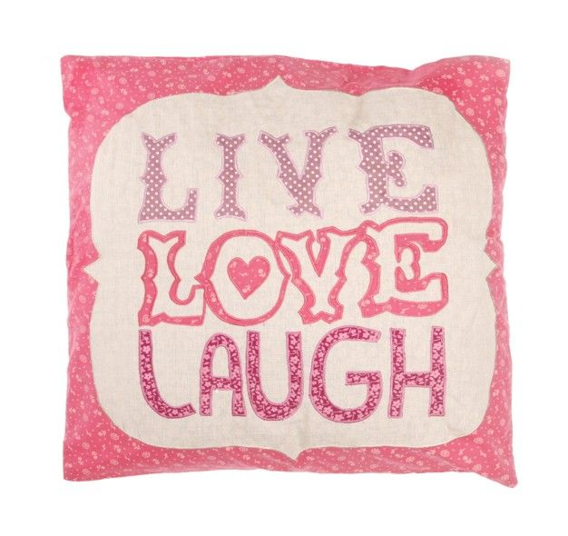 http://www.sassandbelle.co.uk/Applique Square Cushion with Inner - Live Love Laugh