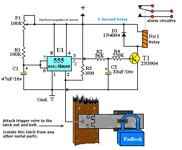 Touch Activated Alarm System using 555 ic | Electronics | Pinterest