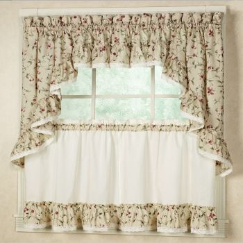 Rustic fun with Cherries Ruffled Kitchen Tier Curtains. Country Living in your Home.