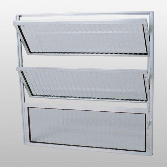 Janela Basculante Alumínio Vidro Canelado 60x60 Habitec - CasaShow