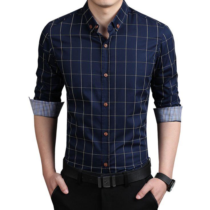 Casual Plaid Shirt Men Long Sleeve Plus Size 5XL High Quality Cotton Slim Fit Shirt Men Brand Men Clothes Camisa Masculina