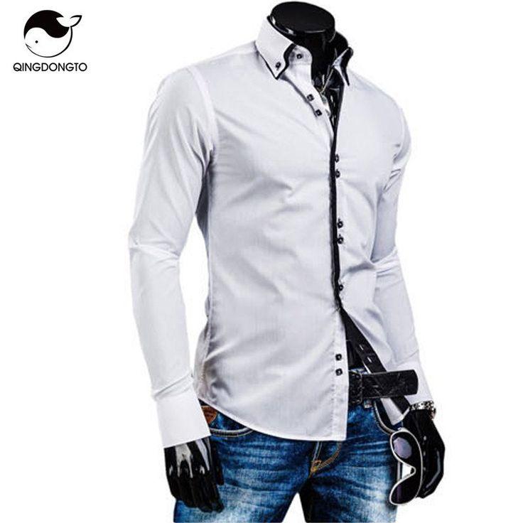 Men Shirt Luxury Brand  Male Long Sleeve Shirts Casual Solid Multi-Button Hit Color Slim Fit Dress Shirts Mens Hawaiian XXL