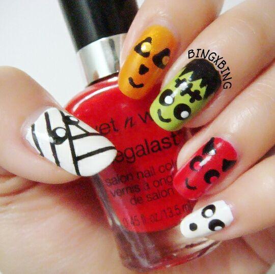 16 best unhas deco dia das bruxas images on pinterest nails cute halloween monsters nail art mummy pumpkin jack frankenstein devil and prinsesfo Choice Image