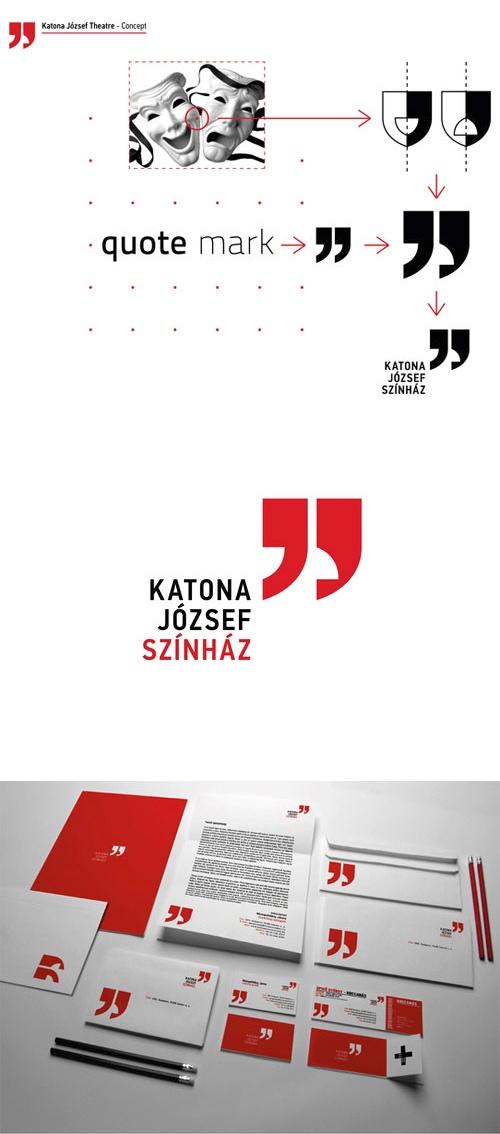 Très intelligente interprétation des masques traditionnels du théâtre pour le logo du théatre Katona Jozsef Szinház par Botond Vörös.