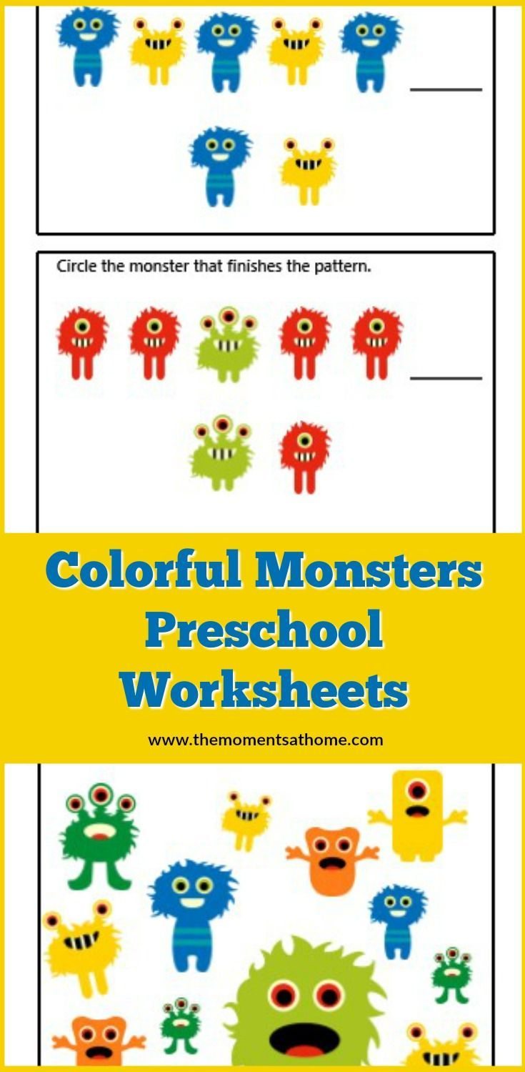 Monster Colors Printable Worksheets For Preschoolers The Moments At Home Preschool Worksheets Kids Worksheets Printables Preschool