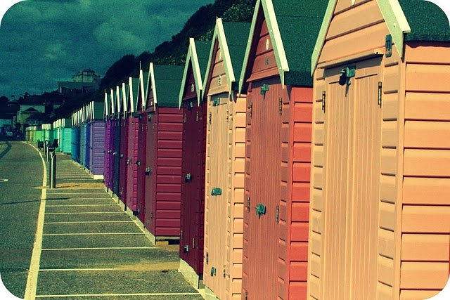 Brilliantly coloured beach huts in Bournemouth