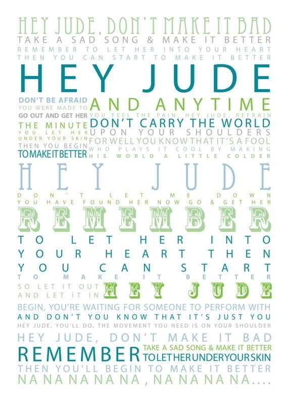 Hey Jude  The Beatles Typographic Print by SheDressedinBlack, $19.00