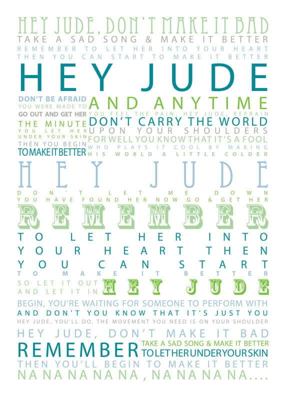 Hey Jude  The Beatles Typographic Print by SheDressedinBlack, $19.00