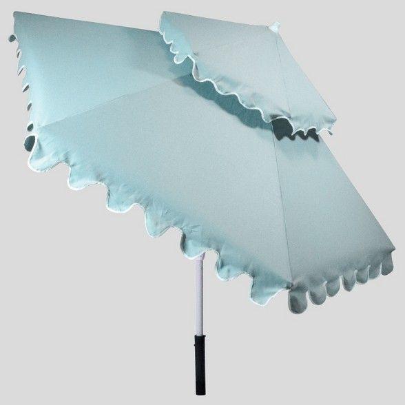 9 Tiered Scalloped Canopy Patio Umbrella Aqua White Pole Opalhouse Patio Umbrella Umbrella Blue Patio Patio umbrella with white pole