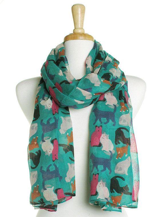 Kleurrijke kat sjaal groen / Oversized sjaal / dames Womens sjaals / bedekken / geschenken idee voor haar / schattig Wrap / poesje minnaar / Print katten