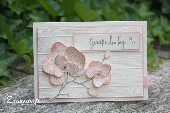 Für eine liebe Freundin habe ich eine Karte mit dem traumhaften, neuen Orchideenset von Stampin' Up! in ganz zarten Farben zum Geburtstag g...