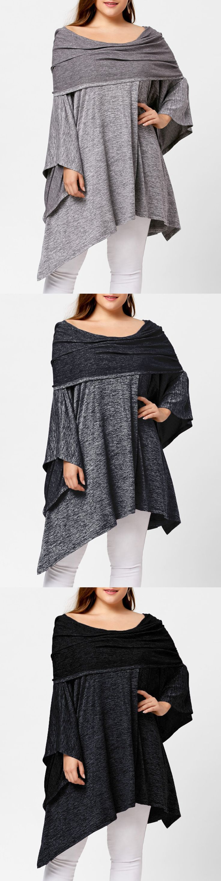 $15.44,Asymmetric Plus Size Off Shoulder Tunic Top - Deep Gray,gray,black,deep blue,light blue,red | Rosewholesale, rosewholesale plus size,rosewholesale dress,rosewholesale dress plus size,rosewholesale tops,plus size,tops | #rosewholesale #plussize #tops