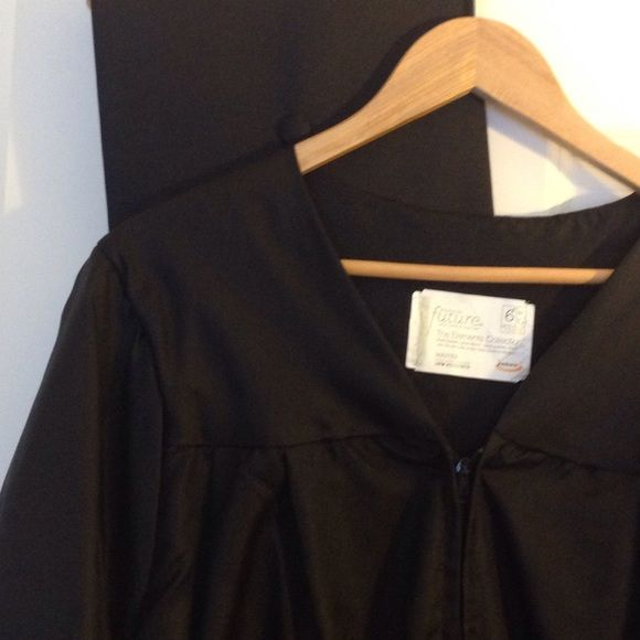 """Graduation cap and gown  Masters 100% acetate black graduation gown/robe with matching cap. Zip front. For 6'1"""" to 6'3"""". Worn only once (no kidding!). Unisex. Jostens Dresses Maxi"""