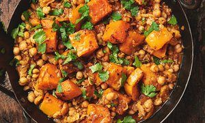 Yotam Ottolenghi's squash recipes - butternut squash, chickpea and harisa stew, and mashed squash with miso and chilli