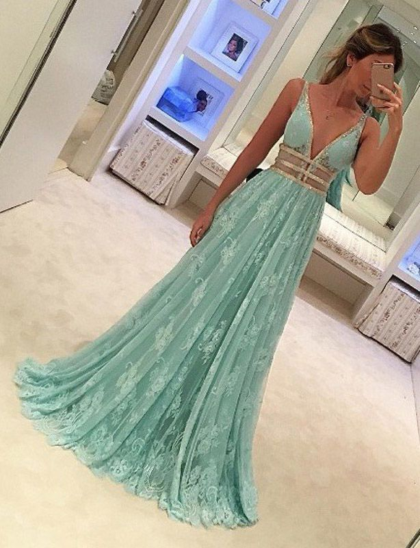 Fabulous Mint Green Prom Dress - Deep V Neck Sleeveless Floor Length Lace with Beading,Sexy long dress
