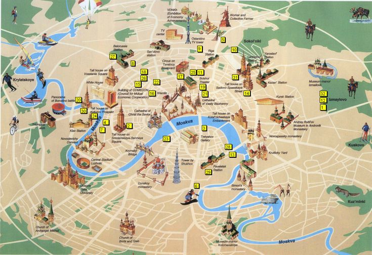 Tourist map of Moscow, Russia