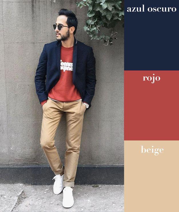 Azul oscuro + rojo + beige | 17 Combinaciones de color que todo hombre puede usar