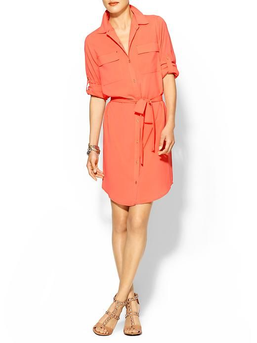Calvin Klein orange shirtdress for woman over 40