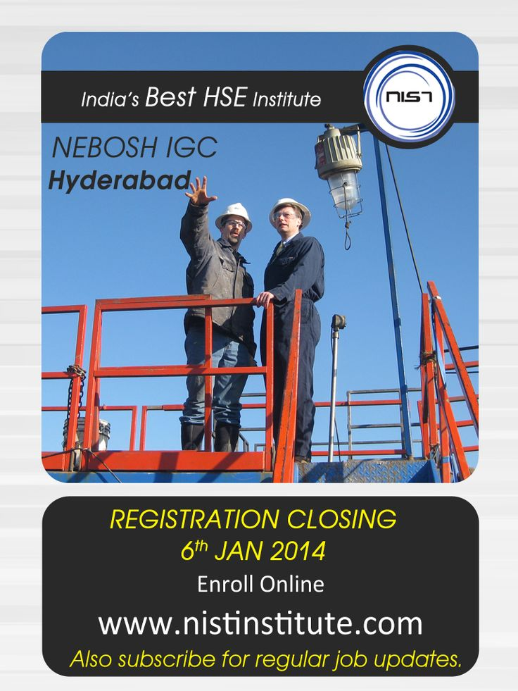 Make headway in your career development and compliment your existing managerial skills. NEBOSH training in Hyderabad assures an opportunity to progress to advisor or manager positions in HSE. Register for your NEBOSH IGC before January 6th, 2015