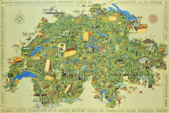 Carte Fromagère de la Suisse / Cheese Map of Switzerland by Muller O. M., 1967