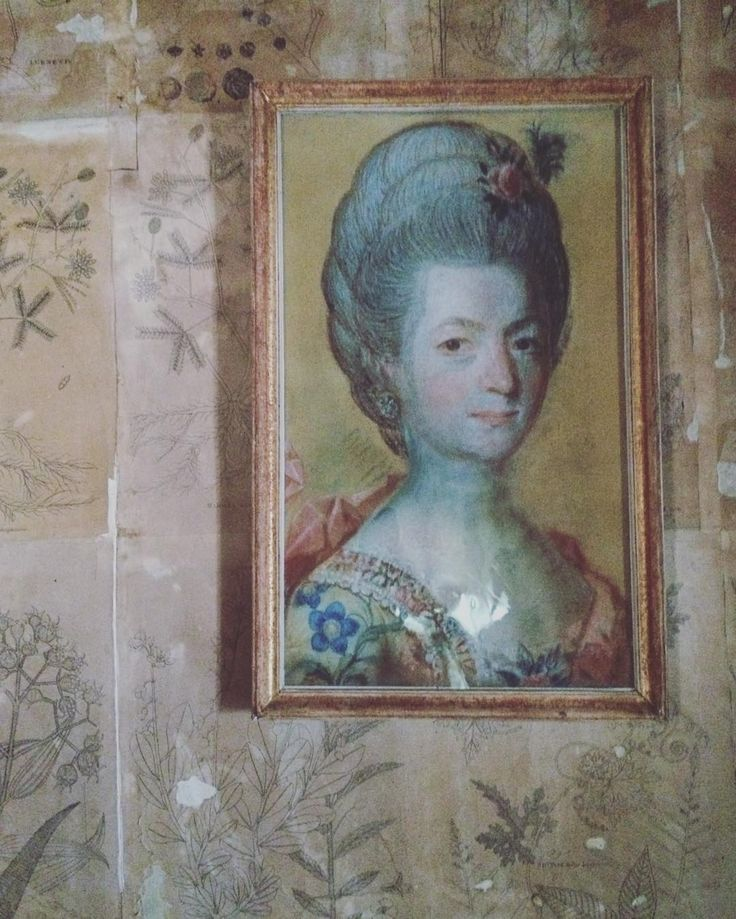 A portrait of one of Carl Linnaeus' daughters on a wallpaper made of flower illustrations. #18thcentury #portrait #flowers #flowerillustration #antiquewallpaper #wallpaper #linnaeushome #carllinnaeus #linné #linneshammarby #museum